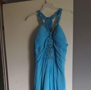 Blush prom dress with rhinestones